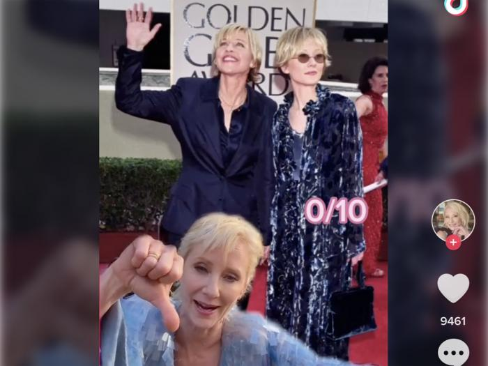 Anne Heche looks back on her 'Iconic Red Carpet Looks' in thei TikTok video