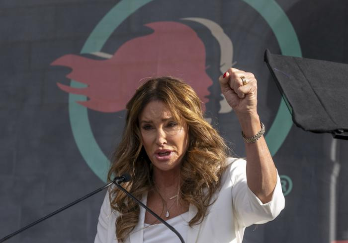 In this Jan. 18, 2020, file photo, Caitlyn Jenner speaks at the fourth Women's March in Los Angeles
