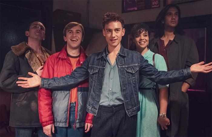 Nathaniel Curtis, Callum Scott Howells, Neil Ashton, Olly Alexander, and Lydia West in 'It's a Sin'