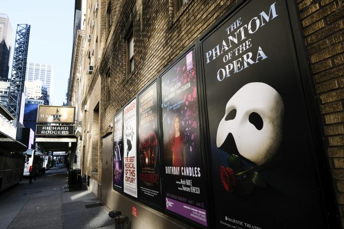Broadway posters hang outside the Richard Rodgers Theatre during Covid-19 lockdown in New York.