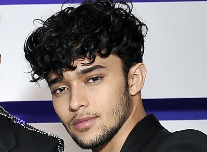 Joel Pimentel, of CNCO, posing backstage at the Latin American Music Awards in Los Angeles.