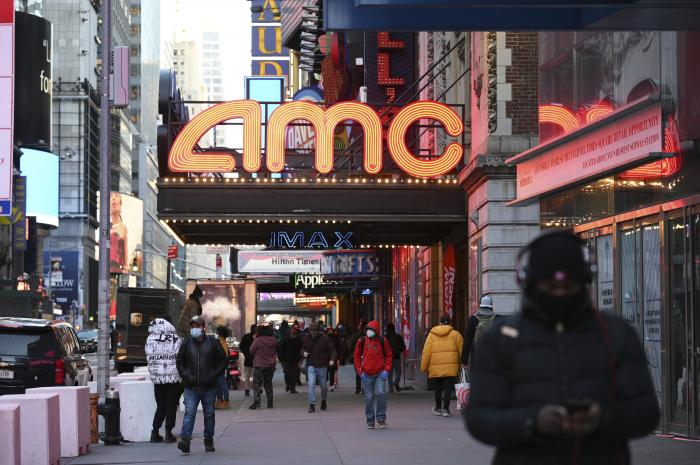 The AMC Empire 25 theater reopens after COVID-19 closures, Friday, March 5, 2021, in New York.