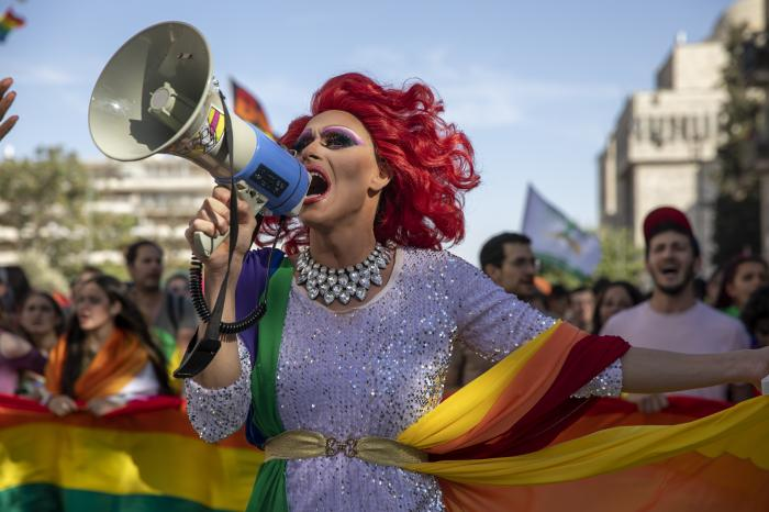 A participant dances in the annual Gay Pride parade in Jerusalem.