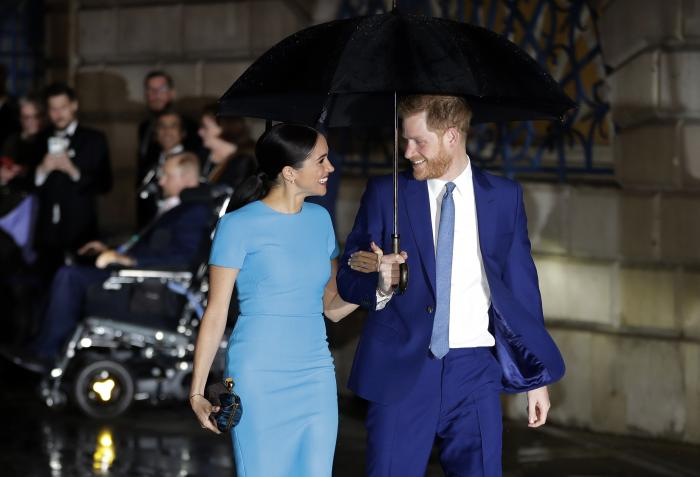 Britain's Prince Harry and Meghan, the Duke and Duchess of Sussex arrive at the annual Endeavour Fund Awards in London, Thursday, March 5, 2020