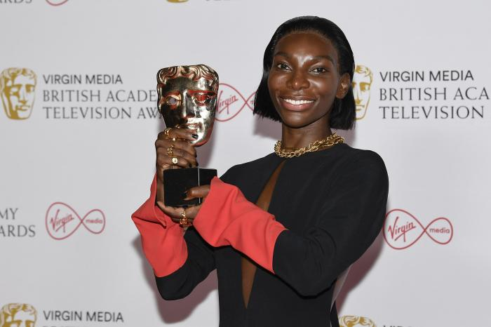 Michaela Coel poses for photographers with his Leading Actress award for her role in 'I May Destroy You' backstage at the British Academy Television Awards.