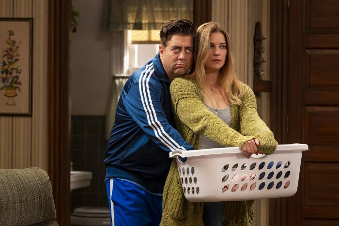"""Annie Murphy, right, and Eric Petersen in a scene from the comedy series """"Kevin Can F*** Himself."""""""