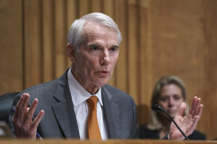 Sen. Rob Portman, R-Ohio, speaks during a Senate Homeland Security Committee hearing at the Capitol in Washington, Thursday, June 10, 2021