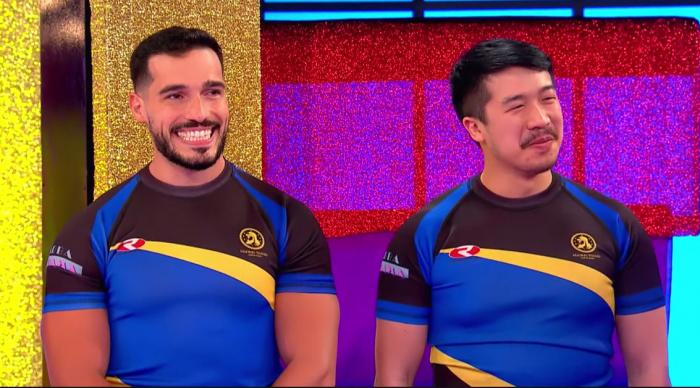 """Fernando (left) and Thomas, two members of the inclusive Spanish rugby team the Titanes on """"Drag Race España"""""""