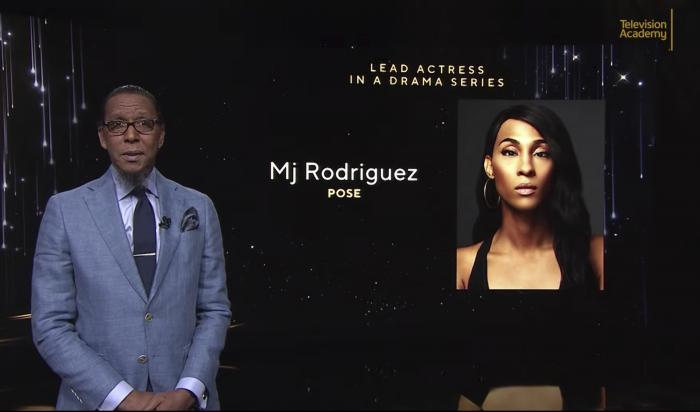 """Ron Cephas Jones as he announces Mj Rodriguez as a nominee for lead actress in a drama series for """"Pose"""" during the 73rd Emmy Awards Nominations Announcement."""