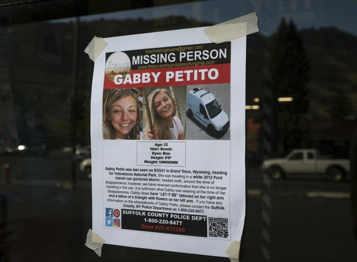 A Suffolk County Police Department missing person poster for Gabby Petito posted in Jakson, Wyo.