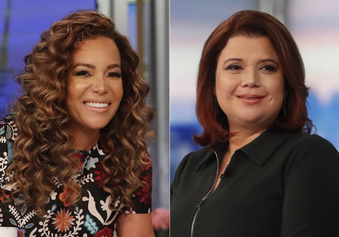 """Co-hosts Sunny Hostin, left, and Ana Navarro on the set of """"The View."""""""