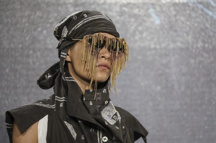 A model wears a creation for the Vivienne Westwood Spring-Summer 2022 ready-to-wear fashion show presented in Paris, Saturday, Oct. 2, 2021. (Photo by Vianney Le Caer/Invision/AP)