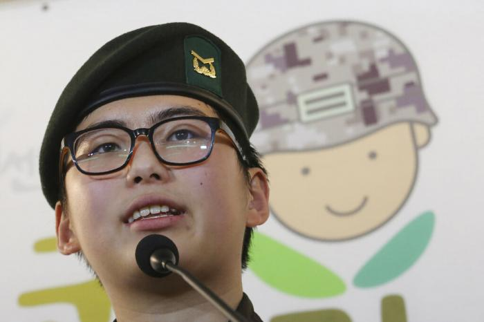 In this Jan. 22, 2020 file photo, South Korean army Sergeant Byun Hui-su speaks during a press conference at the Center for Military Human Right Korea in Seoul, South Korea.