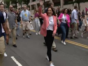 Watch: Kamala Harris Becomes First Sitting VP to March at Pride